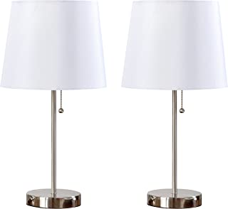 Kings Brand Furniture Algoa Brushed Nickel with White Fabric Shade Table Lamps, Set of 2