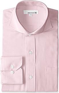 オックスフォード ドレスシャツ 長袖 ワイシャツ Yシャツ シャツ メンズ スリム ピンク カッタウェイ ホリゾンタルカラー DC7003C