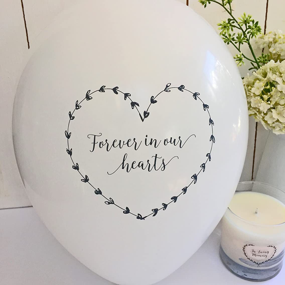ANGEL & DOVE 25 White 'Forever In Our Hearts' Biodegradable Funeral Remembrance Balloons - for Memory Table, Memorial, Condolence, Celebration of Life