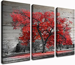 Kolo Wall Art 3 Piece Black and Red Tree Canvas Art Prints Autumn Fall Maple Forest with Leaves Picture Painting Home Decor for Living Room 16