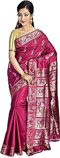 SareesofBengal Women's Katan Silk Handloom Meenakari Baluchari/Swarnachari Saree (B032, Plum)