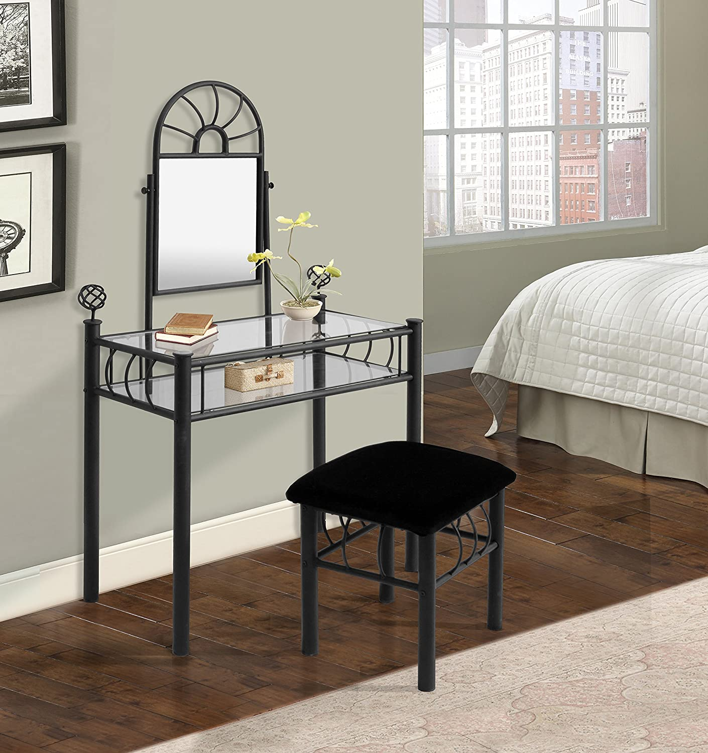 Home Source Industries 200-6032 Vanity with Upholstered Bench, Black