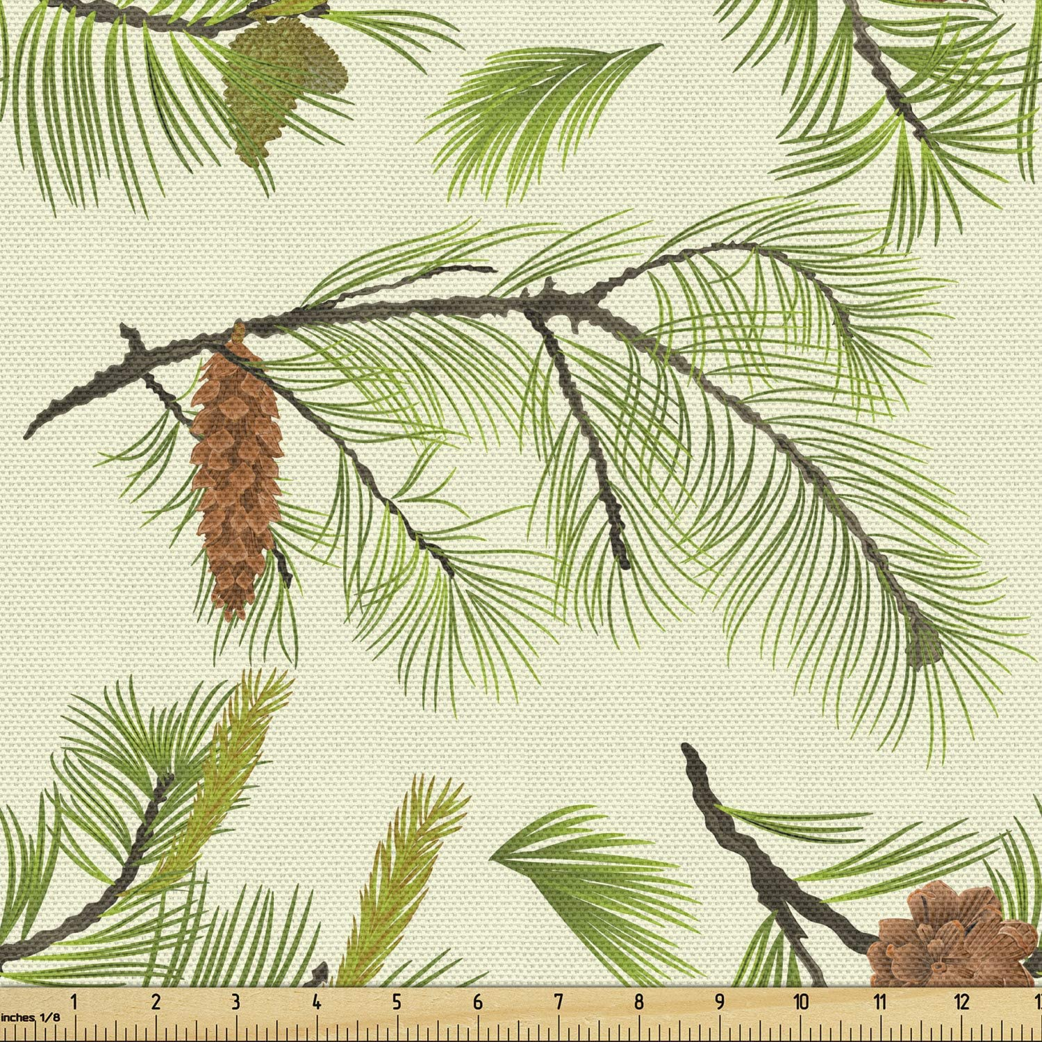 Lunarable Pine マート Cone Fabric ストア by Yard with Continuous The Pattern