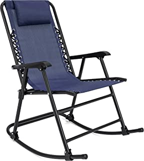 Best Choice Products Foldable Zero Gravity Rocking Mesh Patio Recliner Chair w/Headrest Pillow, Blue