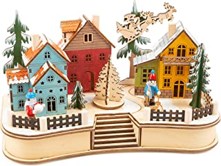 11391 lampa julbyn, av trä, vinterlandskap med belysning