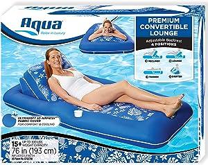 "Aqua Premium Convertible Pool Lounger, Inflatable Pool Float, Heavy Duty, X-Large, 74"" – 90"", Pineapple Hibiscus"