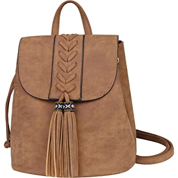 Lady Backpack Purse Casual Rucksack, Women Bohemia Small Bag with Tassel Travel