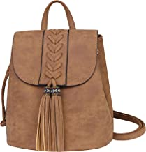 Lady Backpack Casual Rucksack for Women Bohemia Small Bag Waterproof PU with Tassel Vintage Ethnic Style Backpack for Traveling, Shopping, Dating, Party, Holidays (Brown)