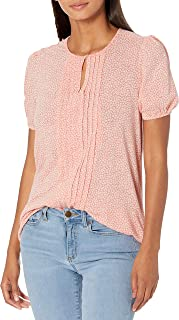 Lucky Brand Women's Short Sleeve V Neck Pintuck Printed Top