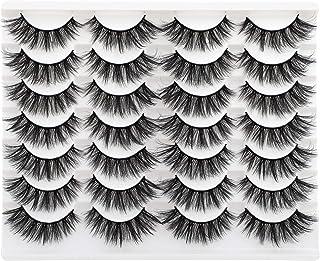 Sponsored Ad - Wiwoseo False Eyelashes 14 Pairs Wispy Long Dramatic Faux Mink Lashes Cat Eyes Fluffy Look Fake Eye Lashes ...