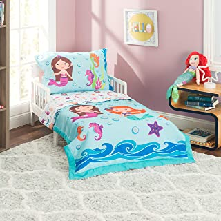 EVERYDAY KIDS 4 Piece Toddler Bedding Set -Undersea Mermaids Adventure- Includes Comforter, Flat Sheet, Fitted Sheet and R...