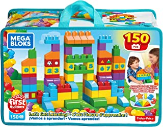 Mega Bloks First Builders Let's Get Learning! with Big Building Blocks, Building Toys for Toddlers (150 Pieces) FVJ49