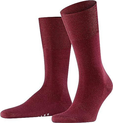 FALKE Men's Airport Socks Merino Wool Cotton Black Grey More Colours Thin Light Warm Colourful Calf Socks Plain Patte...