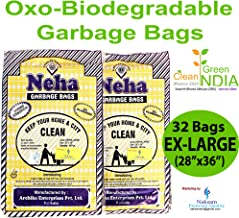 Neha Biodegradable Garbage Bags With Rubber Bands- Extra Large Size(28 Inch - 36 Inch) - Black (32 Bags)