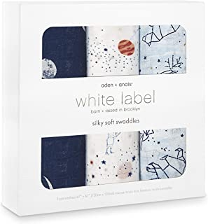 aden + anais Silky Soft Swaddle Baby Blanket, White Label, 3-Pack, Stargaze