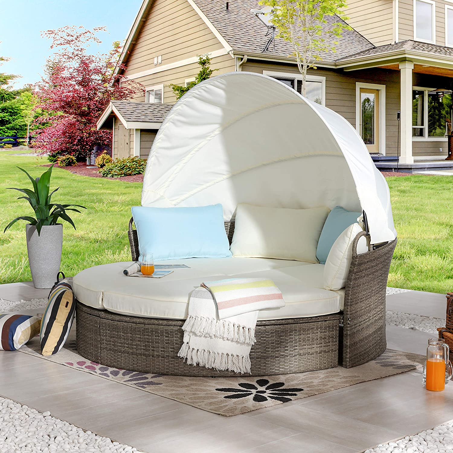 LOKATSE HOME Outdoor Round Spring new work Daybed Patio Canopy with Quantity limited Retractable