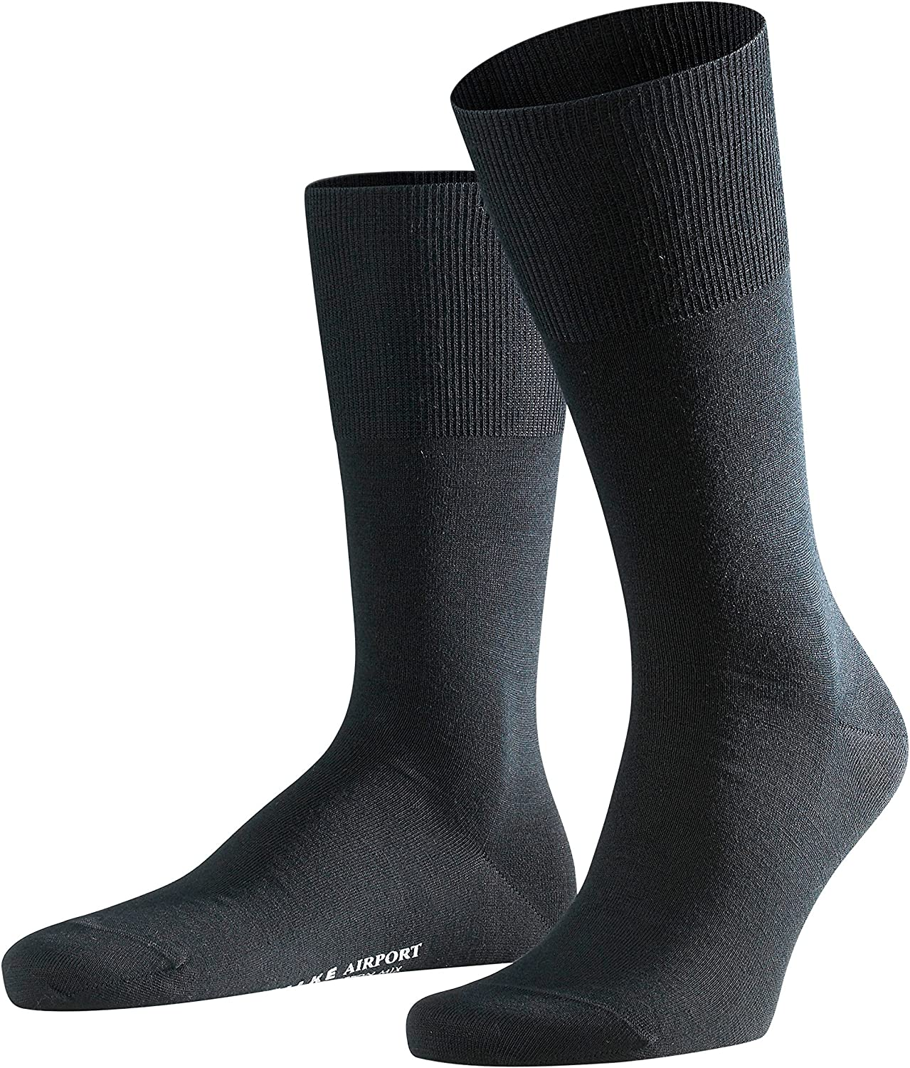 FALKE Mens Airport Dress Socks, Merino Wool Cotton Blend, Over the Calf, for Business and Casual, Black More Colors, 1 Pair