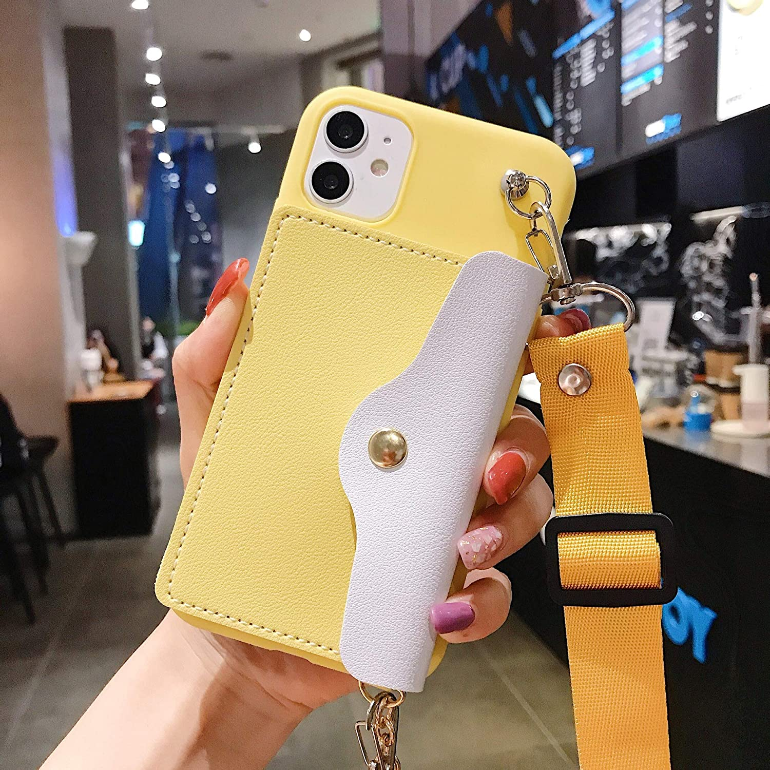ISYSUII Crossbody Case for iPhone Xs Max Wallet Case with Card Holder Slots Adjustable Lanyard Strap Soft Leather Purse Handbag Magnetic Clasp Protective Case for Girl Women,Yellow