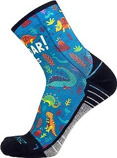 Zensah Limited Edition Running Socks - Anti-Blister Comfortable Mini-Crew Sport Socks, Moisture Wicking (X-Large, Dinosaurs)