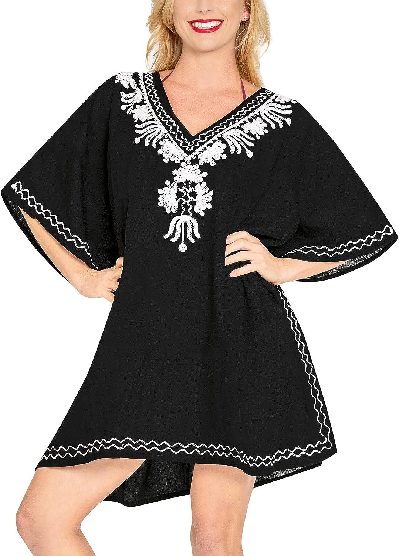 LA LEELA Women's Kaftan Sundress Casual Evening Dress Cover Ups Embroidered