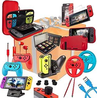 Orzly Accessories Bundle Kompatibel med Nintendo Switch - Geek Pack: Case & Screen Protector, Joycon Grips & Racing Wheels...