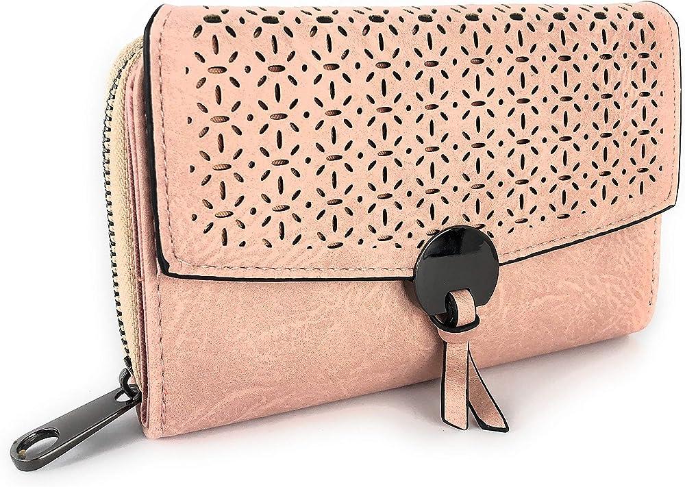 Eliox, porta carte di credito, portafoglio da donna, in pelle sintetica, rosa