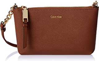 Calvin Klein women Hayden Saffiano Crossbody, Luggage, One Size