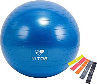 Vitos Anti Burst Exercise Yoga Ball   Extra Thick Non Slip Supports 2200LB for Fitness Stability Birth Balance Pilates Workout Guide Quick Pump Included Professional Quality Design