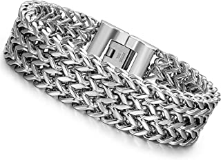 LOYALLOOK Stainless Steel 19MM Cuban Curb Link Chain Men's Bracelets Rock Link Wristband,8.0-9.1 Inches