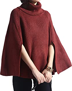 Moss Rose Women's Pullover Sweater Knit Wrap Poncho with Sequins and Tassels