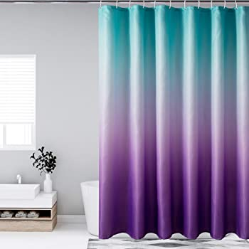 Bermino Ombre Textured Fabric Shower Curtains for Bathroom - Waterproof Cloth Bath Curtain with 12 Hooks, 70 x 72 Inch, Green and Purple Gradient