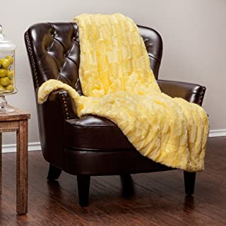 Chanasya Super Soft Fuzzy Faux Fur Elegant Rectangular Embossed Throw Blanket | Fluffy Plush Sherpa Microfiber Sunny Yellow Blanket for Bed Couch Living Room Fall Winter Spring (50x65) - Yellow