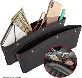 2 in 1 Car Seat Gap Organizer   Universal Fit   Storage Pockets Adjust   2 Set Car Seat Crevice Storage Box   Helps Reduce Distracted Driving & Holds Phone Money Cards Keys Remote   Red Stitching