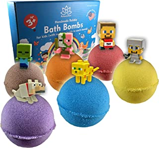 Organic Handmade Bath Bombs with TOYS INSIDE for Kids - Natural and Safe Bath Bombs with Essential Oils - with Toys Inside - Great Gift Set for Boys and Girls - 6 x 5 OZ