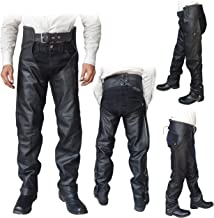 ARD Champs Unisex Braided Black Leather Biker Motorcycle Chaps New All Sizes (XL)