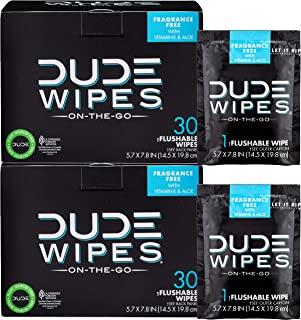 DUDE Wipes Flushable Wipes, Individually Wrapped for Travel, Unscented Wet Wipes with Vitamin-E & Aloe, Septic and Sewer S...