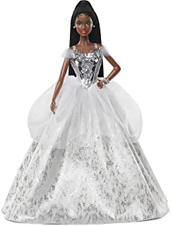 Barbie Signature 2021 Holiday Barbie Doll (12-inch, Brunette Braided Hair) in Silver Gown, with Doll Stand and Certificat...