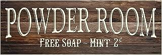 Powder Room Rustic Wood Wall Sign 6x18 (Brown)