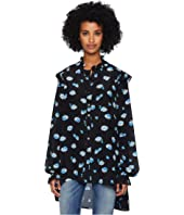 The Kooples - Long Sleeve Button Up Shirt, Covered in Blue Daisy Print