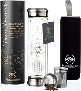 The Sacred Glass Tea Infuser Bottle + Strainer for Loose Leaf, Herbal, Green or Ice Tea. 415ml/14oz Cold Brew Coffee Mug + Fruit Infusions tumbler. Free Travel Sleeve