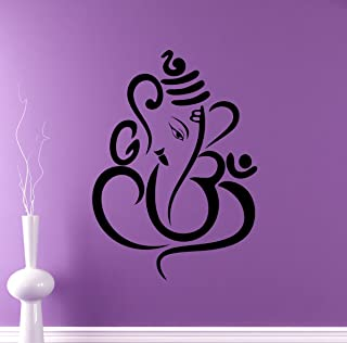 Hindu God Ganesha Wall Decal Elephant Vinyl Sticker Hinduism Home Interior Yoga Living Room Decor Door Stickers Om Housewares Asia India Indian Design Bedroom Custom Decals 1(gns)