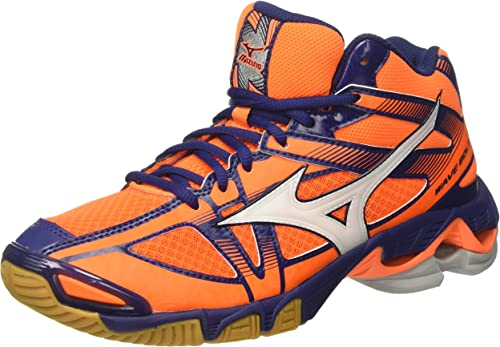 Mizuno Wave Bolt 6 Mid, homme, Arancione (Orange CFaiblen Fish blanc bleu Depths)