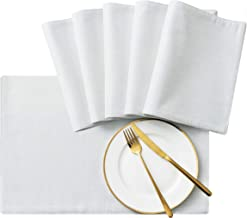 SyMax Table Placemats Linen Set of 6 Heat Resistant Fabric Table Mats Washable Table Runner for Dining Room,Party(White, 6pcs)