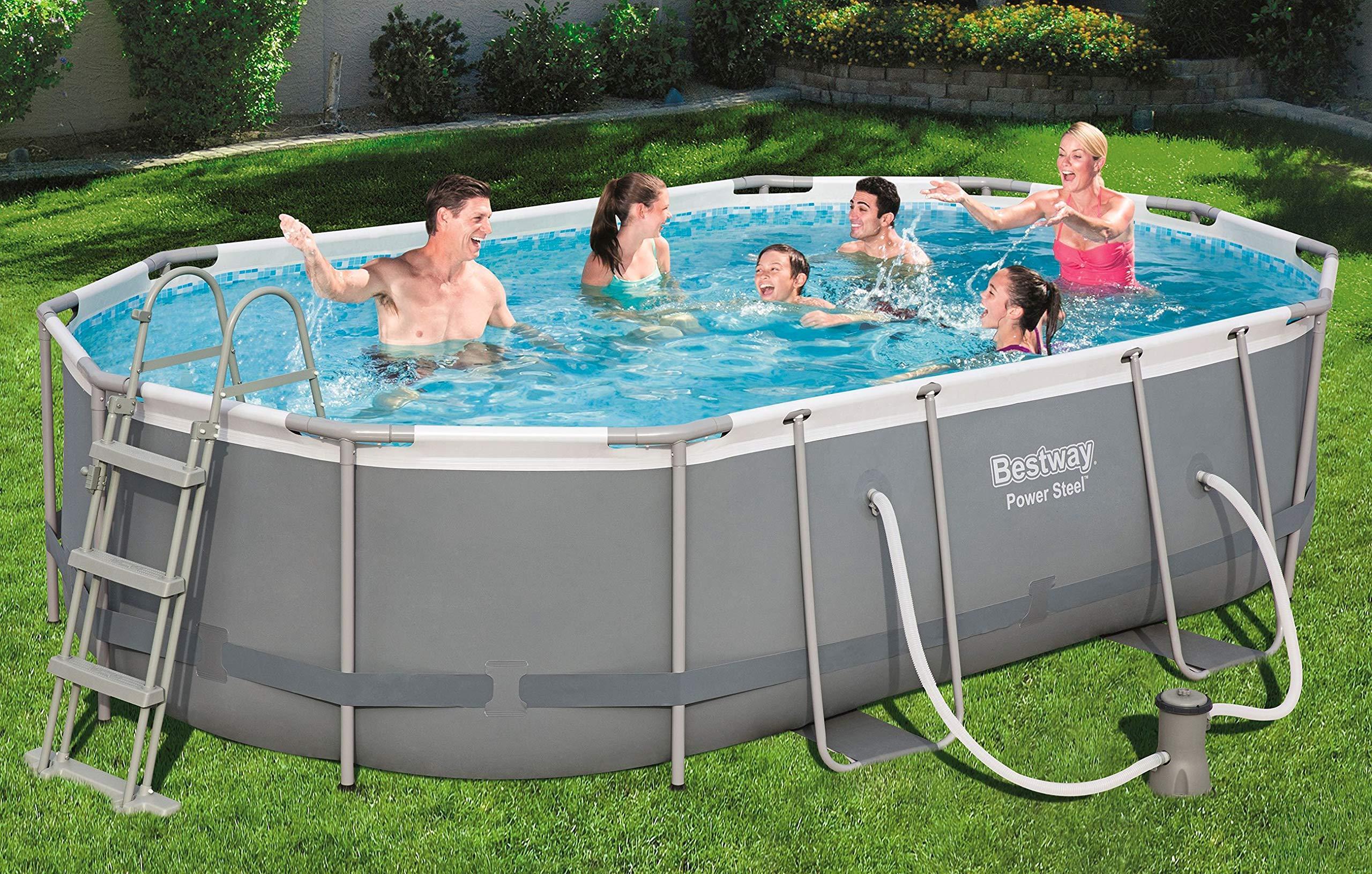 Bestway 56448 de GS19 Power Steel Pool 488 x 305 x 107 cm, Ovalado Marco de Acero Juego de Piscina con Bomba de Filtro y Accesorios, Gris: Amazon.es: Juguetes y juegos