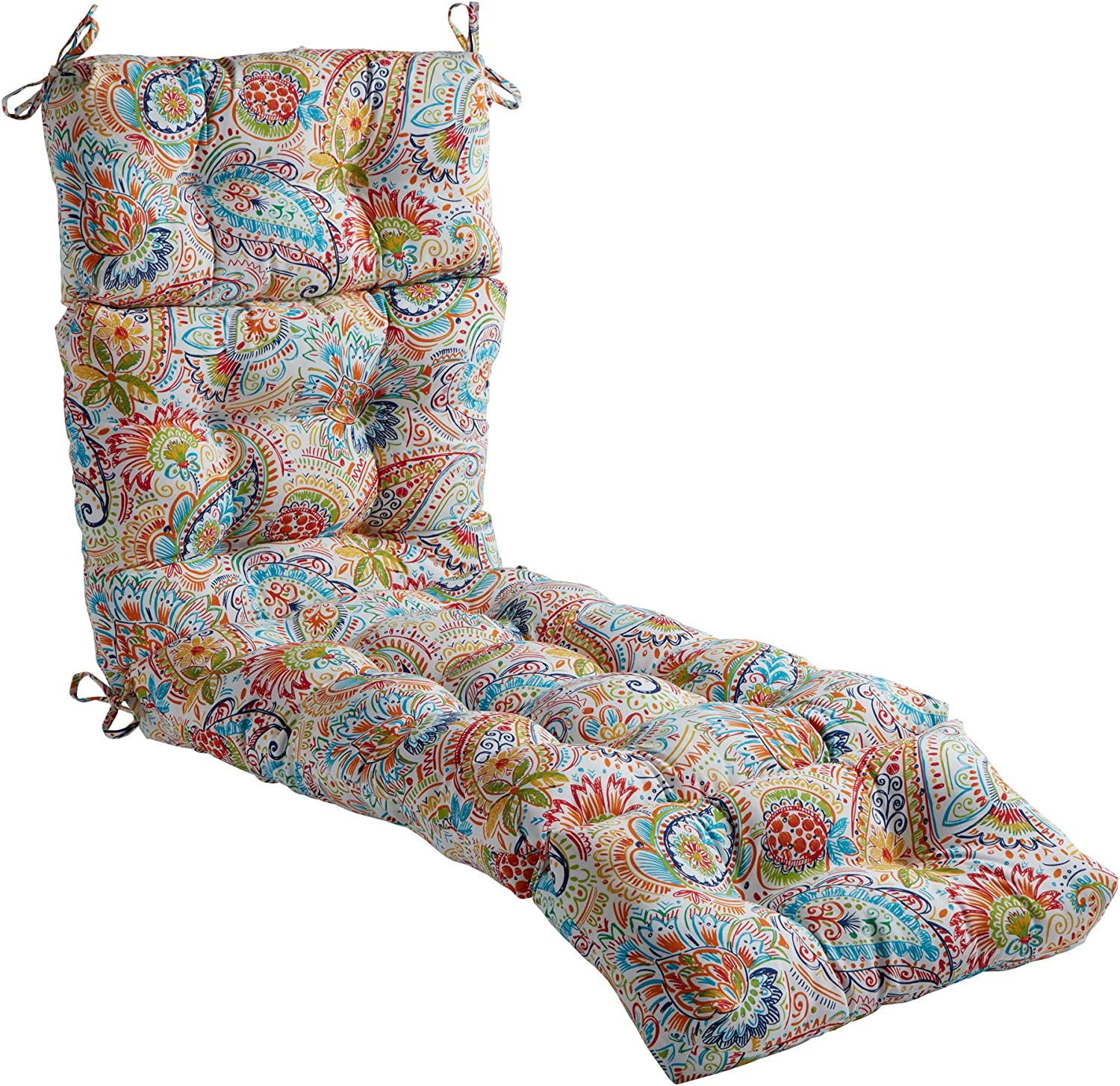 South Pine Porch Outdoor Jamboree Paisley 72-inch Chaise Lounge Cushion, 1 Count (Pack of 1)