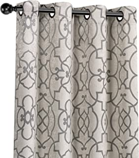 GoodGram 2 Pack Palladian Reversible Lattice Heavy Duty Thermal Blackout Curtain Panels - Assorted Sizes & Colors (Gray, 84 in. Long)