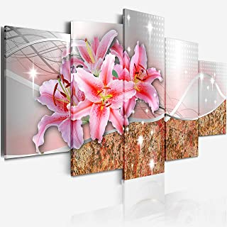 youkuart Wall Decor for Bedroom Flower Canvas Painting Modern Wall Art Home Decor 5 pcs Contemporary Abstract Floal Print Artwork for Living Room Framed and Ready to Hang