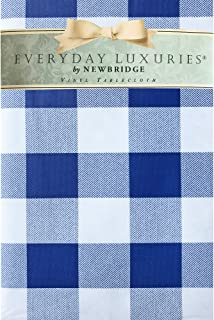 """Newbridge Cottage Gingham Buffalo Check Vinyl Flannel Backed Tablecloth - Rustic Checkered Indoor/Outdoor Vinyl Picnic, BBQ and Dining Tablecloth - 70"""" Round, Blue"""