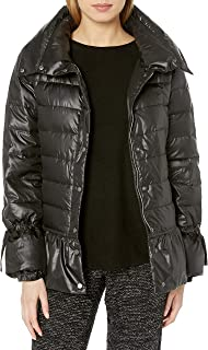 Women's Funnel Neck Down Puffer Jacket With Peplum