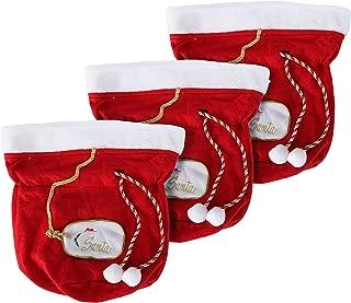 Christmas Gift Bags, Santa Gift Bags, Set of 3 Santa Bags, Fabric Gift Bags, Large Gift Bags, Reusable Christmas Bags, Christmas Gift Bag Set, Red Gift Bags